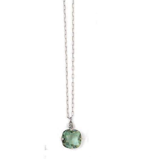 Catherine Popesco Large Stone Crystal Necklace  - Marine and Gold
