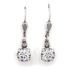 Catherine Popesco Petite Stone 6mm Round Dangle Earrings - Clear Crystal and Silver