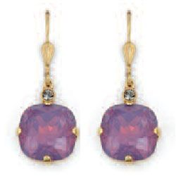 Catherine Popesco Large Stone Crystal Earrings - Lavender and Gold
