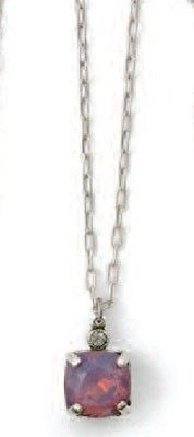 Catherine Popesco Square Medium Stone Pendant Necklace - Assorted Colors in Gold or Silver