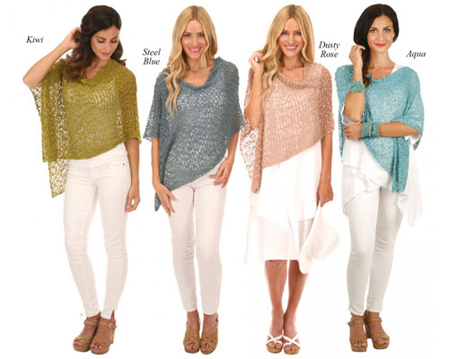 Lost River Popcorn Knit Ponchos